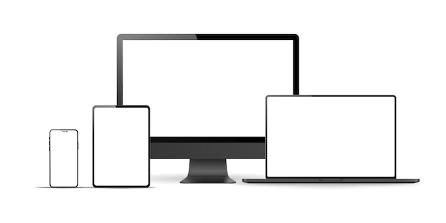 白い背景の上の現実的なモニター、ラップトップ、タブレット、電話のセット