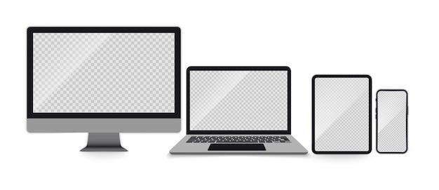 リアルなモニター、ラップトップ、タブレット、スマートフォンのセット。画面が空のデバイスのセット。透明な画面上の電子ガジェットラップトップ、タブレットコンピューター、モニター、携帯電話