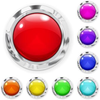 Набор реалистичных разноцветных больших кнопок из стекла с металлическими границами
