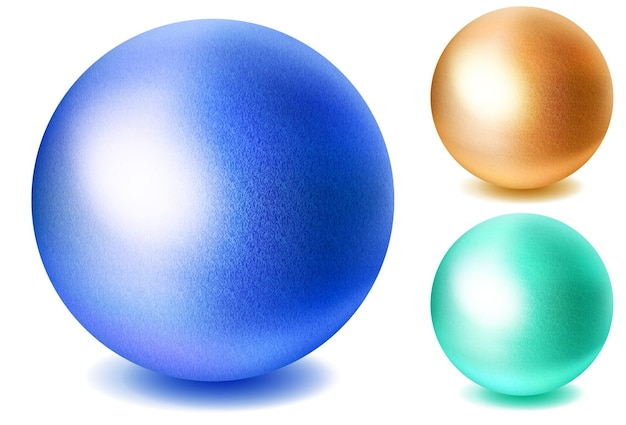 Набор реалистичных разноцветных сфер с тенями на белом фоне