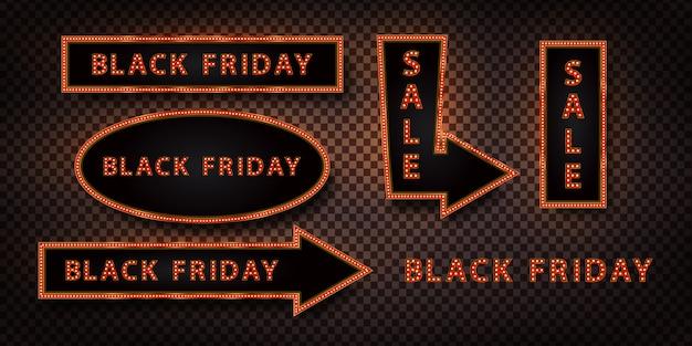 ブラックフライデーの装飾と透明な背景の上を覆うための現実的なネオン看板のセット。販売と割引の概念。