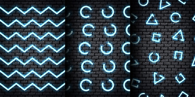Набор реалистичных неоновых бесшовных узоров с синими цветами для шаблона и макета на фоне стены.