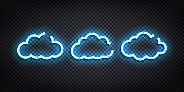 装飾と透明な背景の上を覆う雲の現実的なネオンサインのセット。