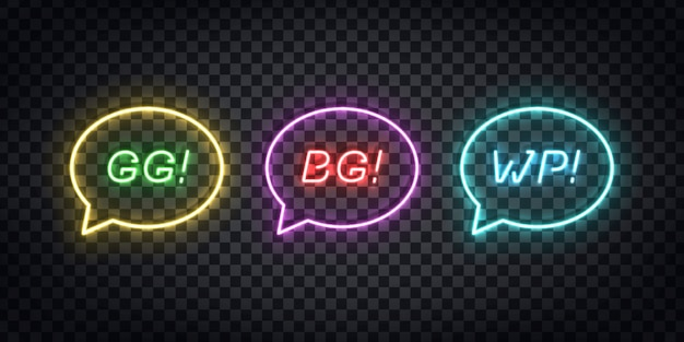 Gg、bg、wpのロゴのテンプレートの装飾と透明な背景をカバーするレイアウトの現実的なネオンサインのセット。ゲームの俗語の概念。