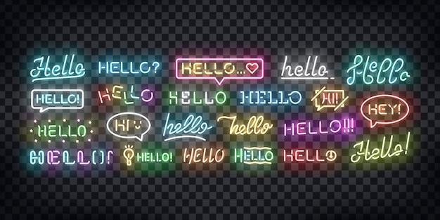 Набор реалистичных неоновых вывесок hello, приветствуя и приветствуя концепции для украшения и покрытия на прозрачном фоне.
