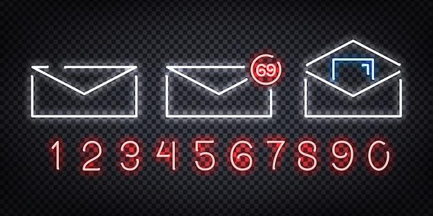 テンプレートの装飾と透明な背景をカバーするレイアウトのメールロゴの現実的なネオンサインのセット。