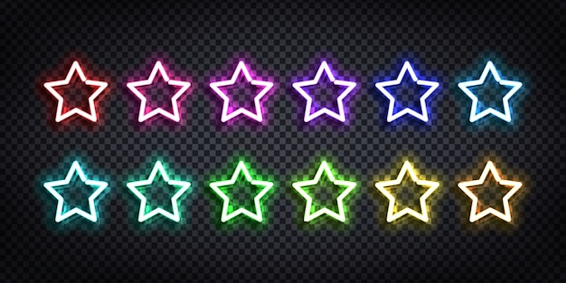 テンプレートの装飾と透明な背景の上を覆うためのさまざまな色の星のロゴの現実的なネオンサインのセット。