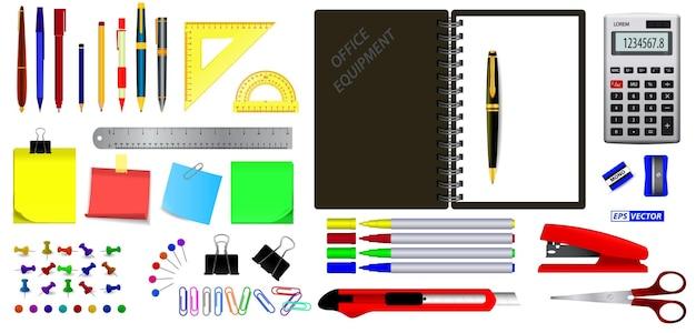 현실적인 사무 장비 도구 세트 또는 학교 문구 교육 항목 또는 다시 학교로