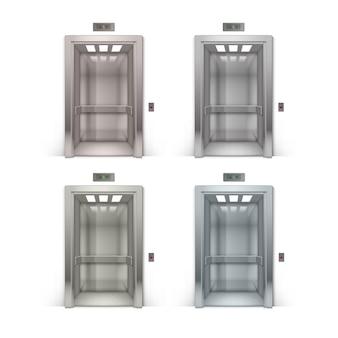 현실적인 오픈 크롬 금속 사무실 건물 엘리베이터 배경에 고립의 집합