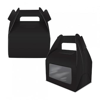 現実的な紙ケーキパッケージ、ブラックボックス、ハンドルとウィンドウのギフト容器のセットです。フードボックステンプレートを奪う
