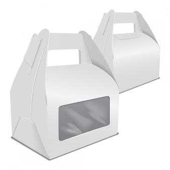 Набор реалистичной бумажной коробки упаковки торта, подарочного контейнера с ручкой и окном. забрать шаблон коробки еды
