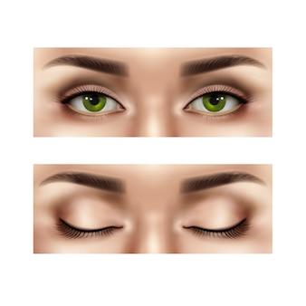 開いた目と閉じた目の女性の人間の顔のリアルな部分のセット