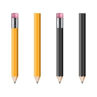 白で隔離のリアルな鉛筆のセット