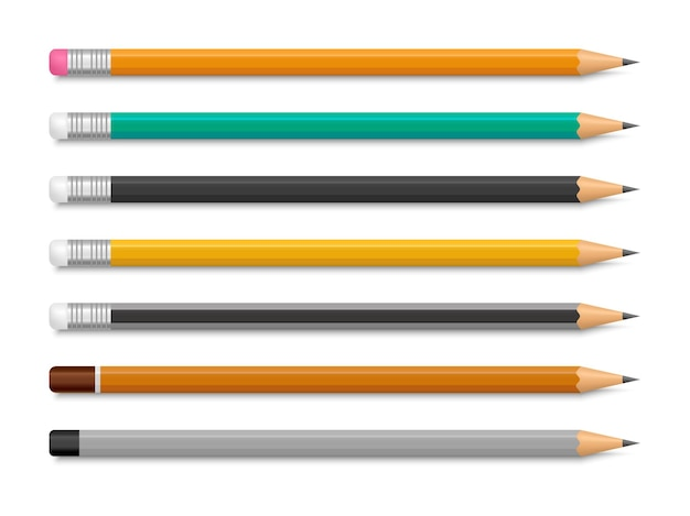 消しゴム付きとなしのリアルな鉛筆のセット
