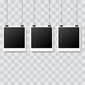 Set of realistic photo frames on transparent background