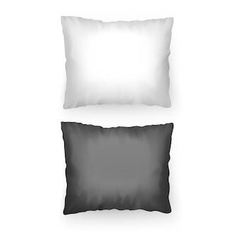 黒と白の色のリアルな枕のセット