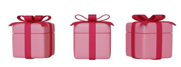 白い背景で隔離の弓とリボンと現実的なピンクの3dギフトボックスのセットです。