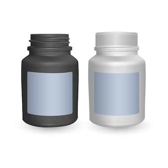 リアルなペットボトルテンプレートのセット。空の黒と白のボトル