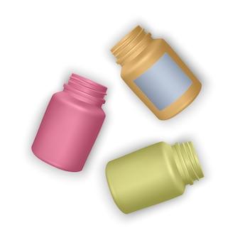 リアルなペットボトルテンプレートのセット。空のカラフルなボトル