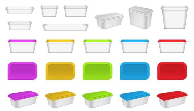 現実的なプラスチック容器の包装またはプラスチック食品容器のモックアップまたは現実的なブランクのセット