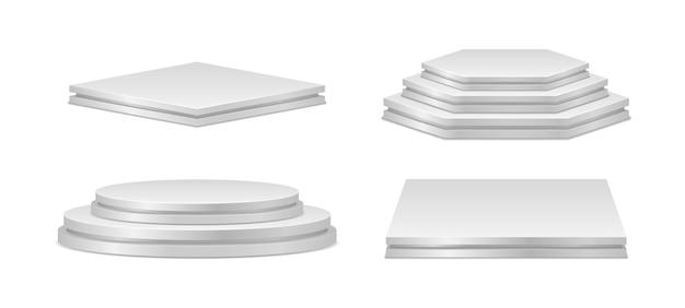 リアルな表彰台のセット。授賞式と製品プレゼンテーションのための表彰台またはプラットフォーム。