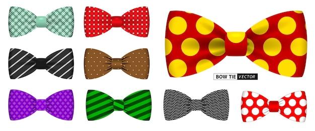 現実的な水玉の蝶ネクタイまたは蝶ネクタイの男性のスーツのオフィスユニフォームまたはさまざまな蝶ネクタイの色のセット
