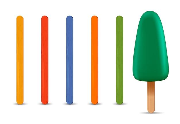 リアルなアイスキャンディースティックグリーンアイスクリームのセット