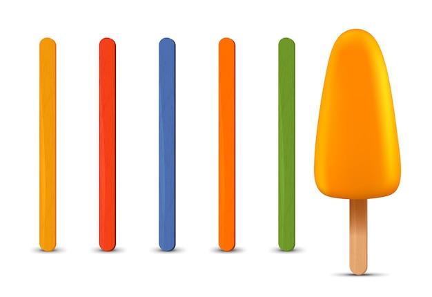 リアルなアイスキャンディースティックアイスクリームのセット