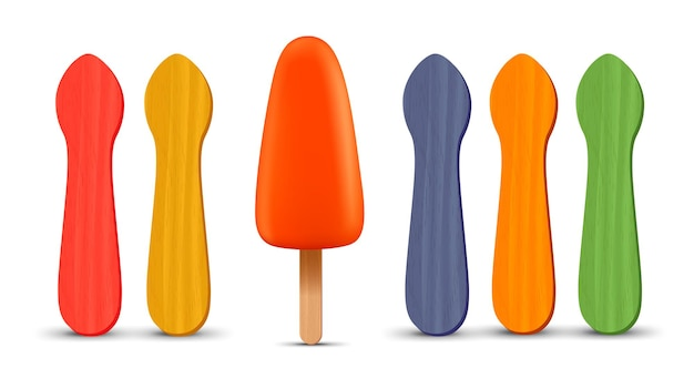 リアルなアイスキャンディースティックオレンジアイスクリームdベクトルイラスト夏季のセット