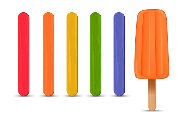 リアルなアイスキャンディースティックオレンジアイスクリームのセット