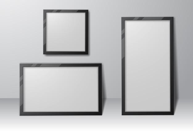 그림자와 함께 현실적인 직사각형 및 정사각형 사진 프레임 세트, 디자인을위한 빈 템플릿.