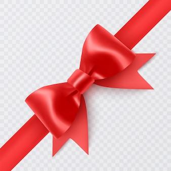 白い背景で隔離の現実的な赤い弓リボンのセット