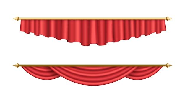 ぶら下がっているリアルな赤いカーテンのセット。インテリア用の豪華な緋色のベルベットのカーテンとカーテン