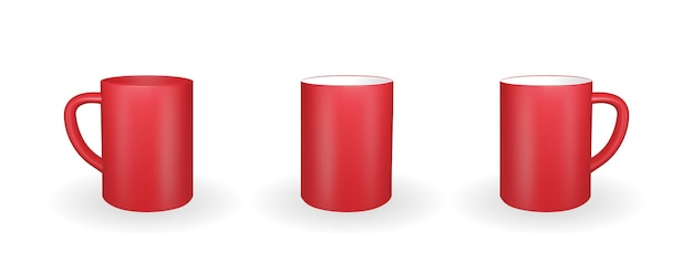 分離された現実的な赤いマグカップのセット