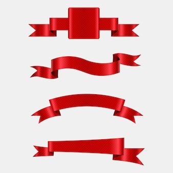 現実的な赤いリボンのセット