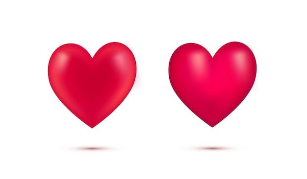 影付きのリアルな赤いバレンタインハートのセット。白い背景で隔離の3dハート。愛のシンボル。バレンタインデー、母の日、結婚式、愛しています。ベクトルイラスト。