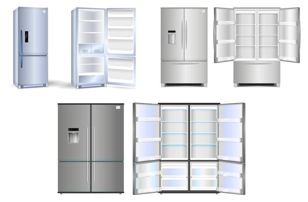 하나의 문이 있는 현실적인 냉장고 세트 또는 음식으로 가득 찬 두 개의 문이 있는 개방형 냉장고