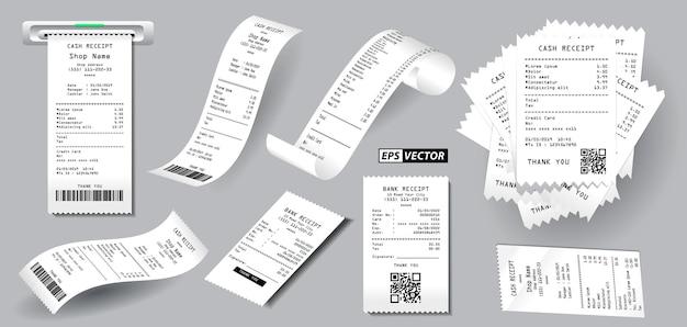 백서 개념에 인쇄된 현실적인 등록 판매 영수증 격리 또는 현금 영수증 세트