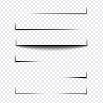 透明な背景のさまざまな形、ページ分離のリアルな影の効果のセット