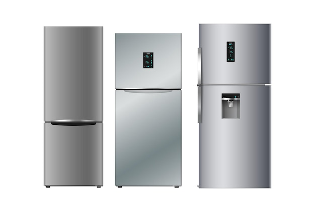 현대 부엌을위한 현실적인 실버 냉장고 세트
