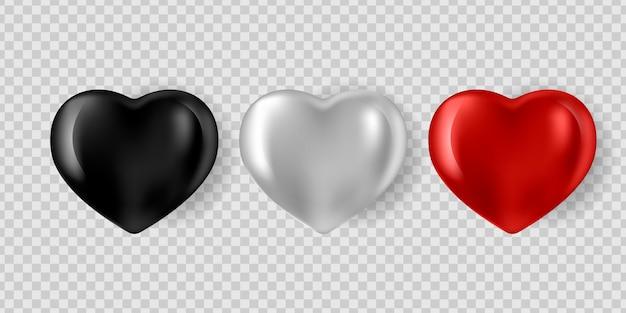 Набор реалистичных серебряных, красных и черных 3d сердец, изолированных на белом фоне.