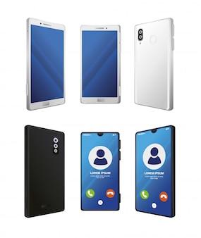 白い背景の上の現実的なスマートフォンのモックアップのセット