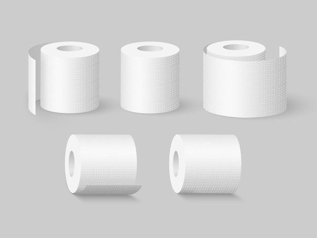 Набор реалистичных рулонов мягкой туалетной бумаги.