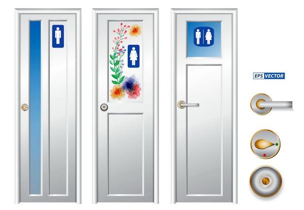Набор реалистичного изолированного туалета или детализированной туалетной двери в общественной зоне или общественном туалете