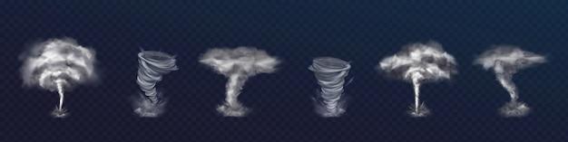 Набор реалистичных вихрей торнадо. различные виды завихрений с облаками и летающими осколками