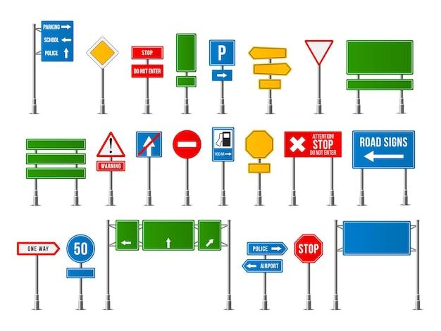 Набор реалистичных дорожных знаков. символ дорожного знака.