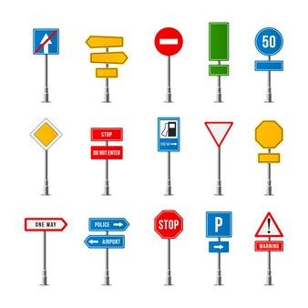 현실적인 교통 표지판의 세트 프리미엄 벡터