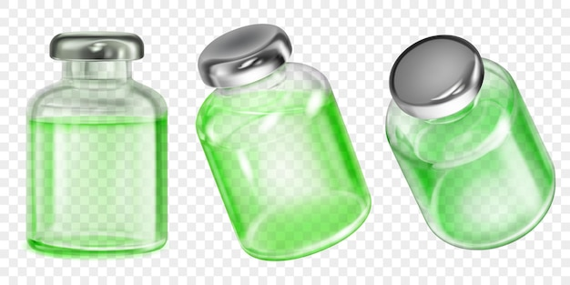 Набор реалистичных полупрозрачных флаконов вакцины против коронавируса с зеленой жидкостью на прозрачном фоне