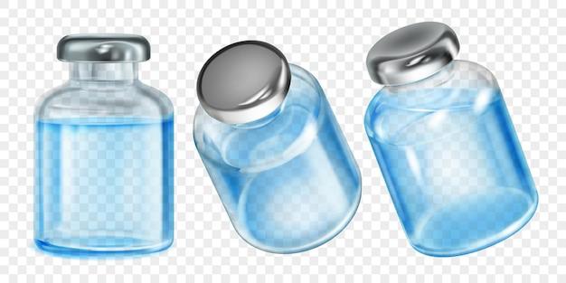 透明な背景に水色の液体と現実的な半透明コロナウイルスワクチンボトルのセット