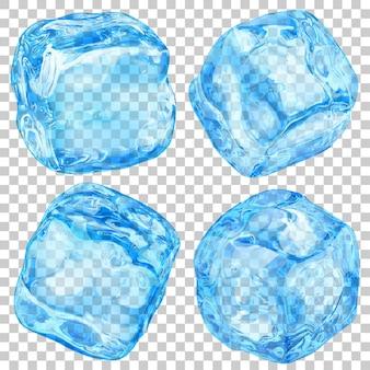 Набор реалистичных полупрозрачных кубиков льда голубого цвета